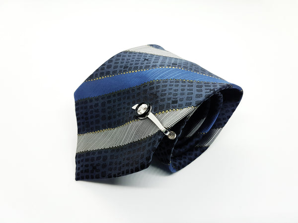 Italian Designer Vintage Tie & Tie Clip | Emilio Vincenti Tie | Wedding Collection - Vintage Radar