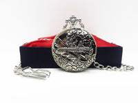 Aviator Style Silver Pocket Watch Vintage | Can Be Engraved Upon Request - Vintage Radar