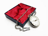 Fugit Tempus Silver Pocket Watch Vintage | Can Be Engraved Upon Request - Vintage Radar