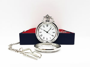 Wedding Suit Silver Pocket Watch Vintage | Can Be Engraved Upon Request - Vintage Radar