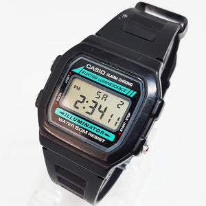 W-86-1VQES Black and Blue Antique Vintage Casio Watch - Vintage Radar