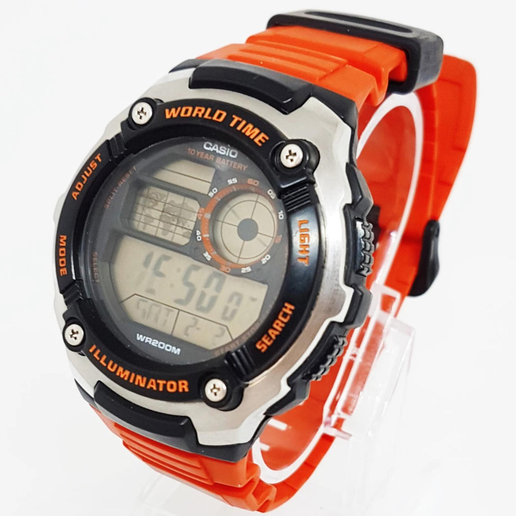 Orange Casio watch for men, Vintage mens sports wristwatch - Vintage Radar