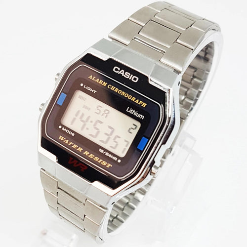 Water Resistant Digital Black and Silver Quartz Vintage Casio Watch for Men - Vintage Radar