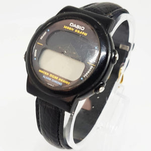 Vintage Casio Moon Graph GMW-15, All Black Wristwatch - Vintage Radar