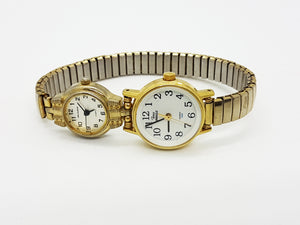 Milan and Timex Double Gold-tone Wrist Watch - Vintage Radar