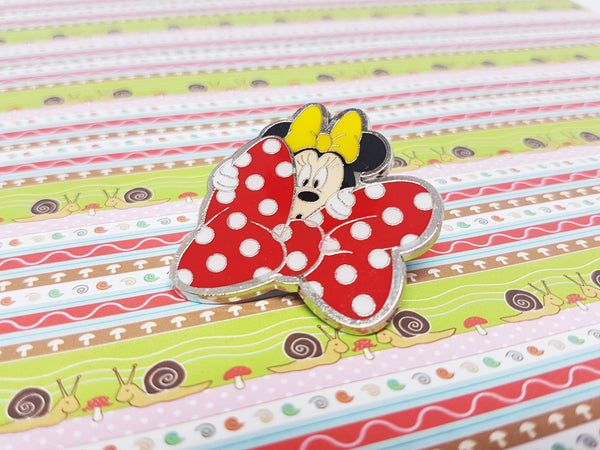 Minnie Mouse Red Bow Lapel Pin | Disney Enamel Pin - Vintage Radar