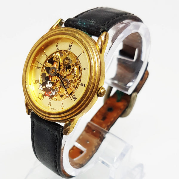 Mickey Mouse Disney watch for men and women | Gold Skeleton Watch - Vintage Radar