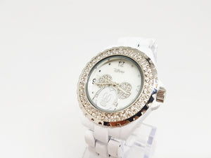 Elegant White Mickey Mouse Watch | Disney Rhinestones Watch - Vintage Radar