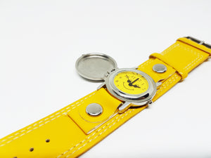 Yellow Smiley Face Watch for Women or Men | Silver-tone Quartz Watch - Vintage Radar