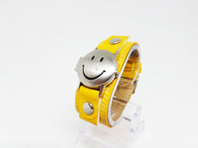 Load image into Gallery viewer, Yellow Smiley Face Watch for Women or Men | Silver-tone Quartz Watch - Vintage Radar