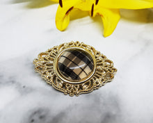 Load image into Gallery viewer, Chic Gold-tone Antique Brooch, Check Print Detail - Vintage Radar