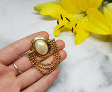 Load image into Gallery viewer, Antique Gold-tone Brooch, White Pearl and Golden Beads - Vintage Radar