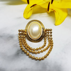 Antique Gold-tone Brooch, White Pearl and Golden Beads - Vintage Radar