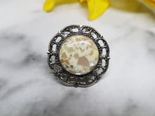 Load image into Gallery viewer, Vintage Chic Silver-tone Brooch, Marble Mosaic Stone - Vintage Radar