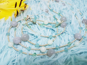 Vintage Pale Blue Beaded Necklace Handcrafted in Ireland - Vintage Radar