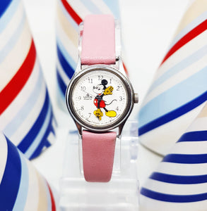 Lorus Quartz V811-0150 Mickey Mouse Watch with Pink Strap | 90s Watch - Vintage Radar