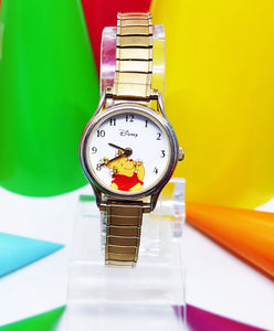 Elegant Winnie The Pooh Seiko Watch | Disney Rotating Honey Bees Gold-Tone Vintage Watch - Vintage Radar