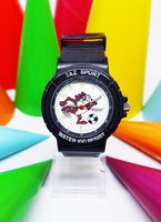 Tasmanian Devil Black And White Sports Watch | Armitron Looney Tunes Watch For Men - Vintage Radar