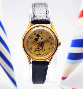 Gold-Tone Classic Mickey Mouse Watch | Disney Lorus Vintage Watch - Vintage Radar