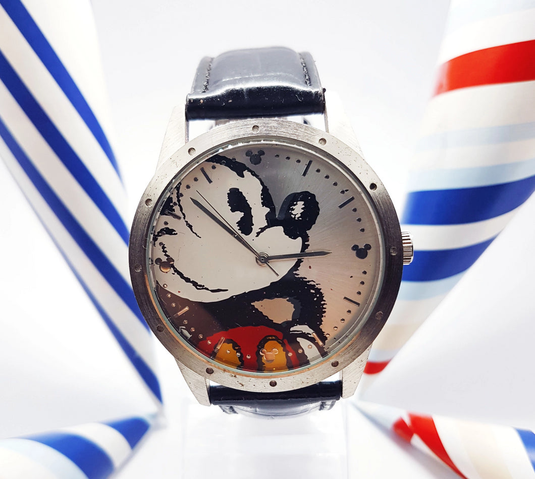 Disneyland Resort Mickey Mouse Watch | Big Silver-Tone Watch For Men and Women - Vintage Radar