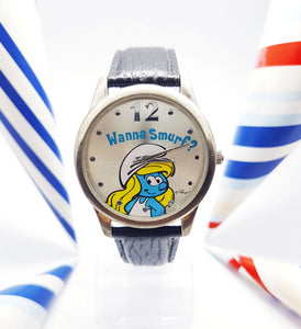 Blue Smurf Vintage Watch For Women | Colorful Character Anniversary Watch - Vintage Radar