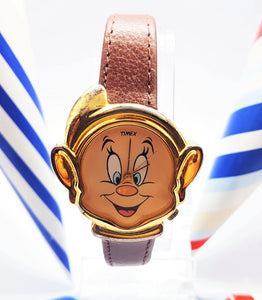 1980 Timex Dopey Dwarf Watch | Gold-Tone Snow White Disney Character Watch - Vintage Radar