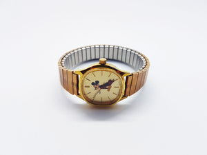 Gold-Tone Mickey Mouse Bradley Watch | Luxurious Cocktail Dress Wacth - Vintage Radar