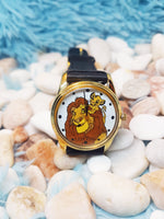The Lion King Disney Gift Watch | Simba and Mufasa Vintage Gold Tone Watch - Vintage Radar