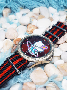 Big Hello Kitty Vintage Watch | Red And Silver Tone Character Watch - Vintage Radar