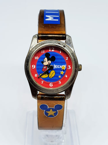 Blue And Red Star Mickey Mouse Disney Watch | Silver Seiko Watch - Vintage Radar