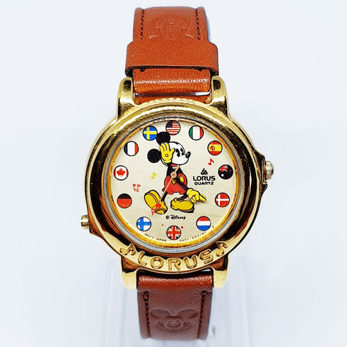 Lorus World Flags Musical Mickey Mouse Watch V421-0021NT 2 | 90s Disney Animado Reloj-Radar Vintage