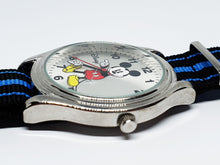 Load image into Gallery viewer, Men's Silver-Tone Mickey Mouse Watch | Large Dial Disney Nato Strap Watch - Vintage Radar