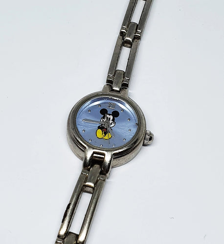 Tiny Mickey Mouse Silver-Tone Watch | Disney Watches For Women - Vintage Radar