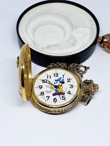 Railroad Conductor Mickey Mouse Verichron Pocket Watch | Men's Fashion - Vintage Radar