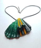 Emerald Green Handpainted Necklace | Seashell Jewelry Collection - Vintage Radar