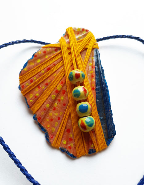 Handmade Colorful Necklace | Statement Seashell Painted Pendant - Vintage Radar