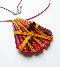 Load image into Gallery viewer, Handmade Deep Red Necklace | Seashell Handpainted Jewelry - Vintage Radar