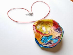 Unique Colorful Handpainted Necklace | Statement Jewelry - Vintage Radar