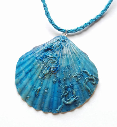 Turquoise Blue Seashell Necklace | Mermaid Inspired Handmade Pendant - Vintage Radar