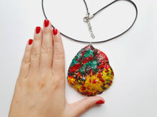 Load image into Gallery viewer, Stunning Colorful Handmade Necklace | Bright Handpainted Pendant - Vintage Radar