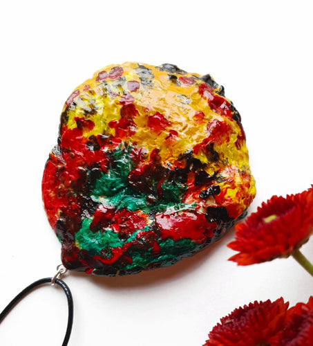 Stunning Colorful Handmade Necklace | Bright Handpainted Pendant - Vintage Radar