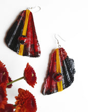 Load image into Gallery viewer, Deep Red Handpainted Earrings | Seashell Handmade Jewelry - Vintage Radar