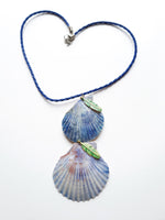 Gorgeous Statement Topaz Blue Seashell Necklace | Handmade Jewelry - Vintage Radar