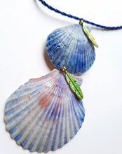 Load image into Gallery viewer, Gorgeous Statement Topaz Blue Seashell Necklace | Handmade Jewelry - Vintage Radar