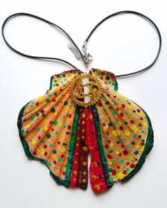 Colorful Butterfly Wing Statement Necklace with Watch Movement Wheels - Vintage Radar