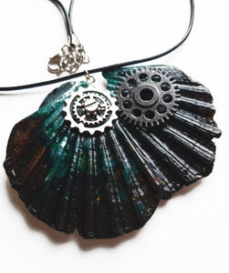Black Handmade Statement Necklace with Watch Movement Wheels - Vintage Radar