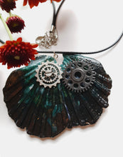 Load image into Gallery viewer, Black Handmade Statement Necklace with Watch Movement Wheels - Vintage Radar