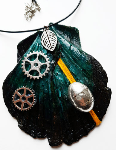 Industrial Style Handmade Statement Necklace with Watch Movement Wheels - Vintage Radar