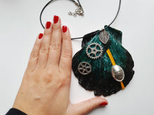 Load image into Gallery viewer, Industrial Style Handmade Statement Necklace with Watch Movement Wheels - Vintage Radar