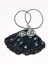 Load image into Gallery viewer, Black Butterfly Wing Statement Necklace with Watch Movement Wheels - Vintage Radar